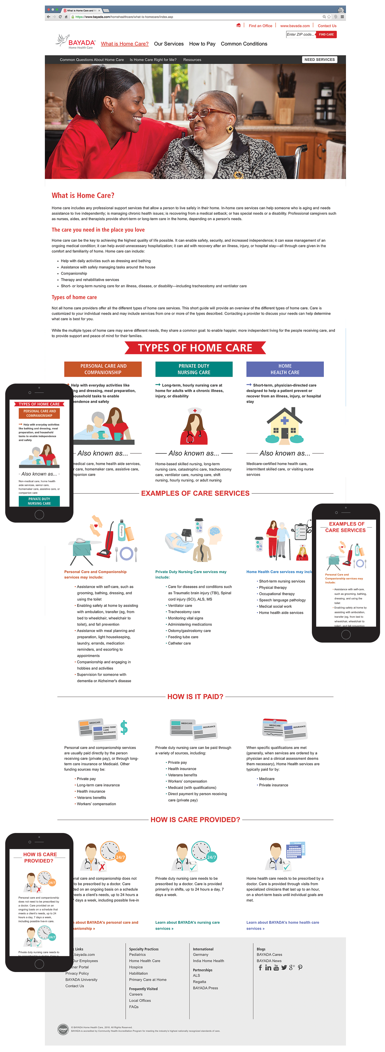Images of Home Health Care microsite